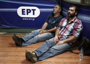 Protesters sleep inside Greek state television ERT headquarters in Athens