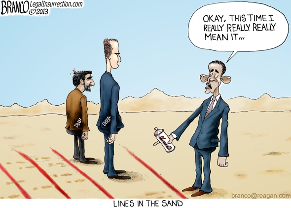 Line Drawing Fallacy Example : Obama red line cartoon