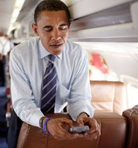 barack obama on cell phone