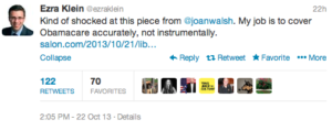 Screen Shot Ezra Klein tweet
