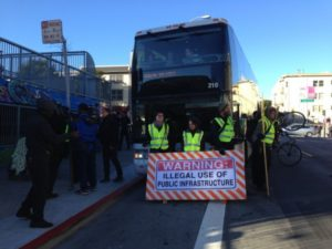 google commuter bus protest