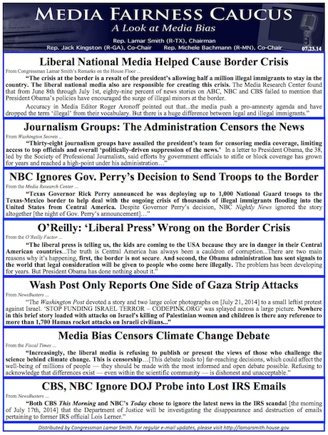 Media Fairness Caucus Newsletter July 23 2014