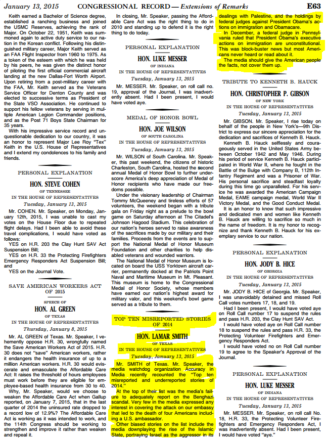 AIM in Congressional Record