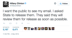 hillary clinton tweet on emails