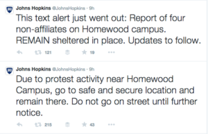 johns hopkins tweet baltimore protests