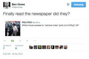 tweet ben howe on riots