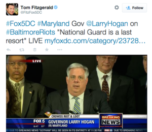 tweet gov hogan on riots