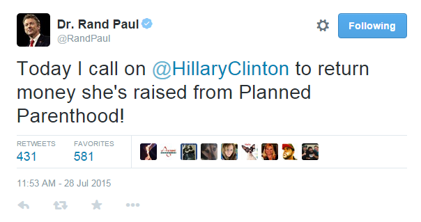 rand paul on hillary clinton planned parenthood donations