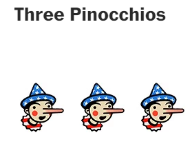 three pinocchios