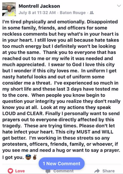 image screenshot from Montrell Jackson's Facebook page, taken from Kristi Vick Godal's social media post