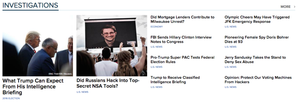 image screenshot of NBC News' homepage 'investigations' section August 17 2016
