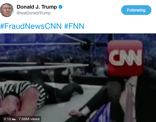 President Trump tweets video of him 'attacking' CNN