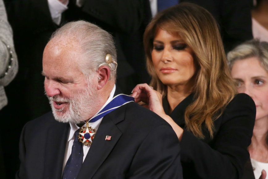 SOTU, First Lady Presents Rush Limbaugh With Presidential Medal Of Freedom